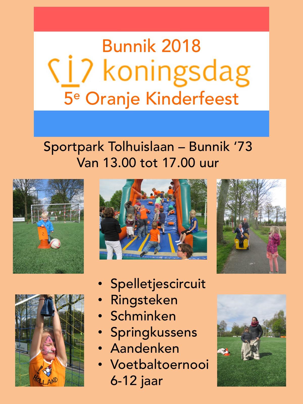 Koningsdag Kinder Oranjefeest en Voetbaltoernooi
