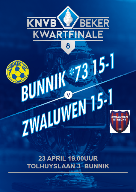 De O15-1 speelt de kwartfinale KNVB beker! Let op want de datum is gewijzigd!